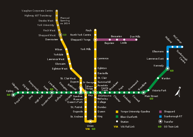 Subway Map Toronto Ontario