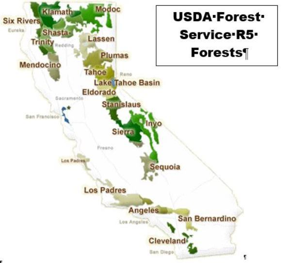 United States Forest Service CA The RadioReference Wiki - Us forest map 1800s