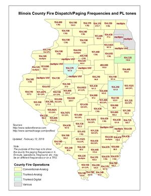 Illinois County Fire Dispatch Frequencies map - Click image to view in full