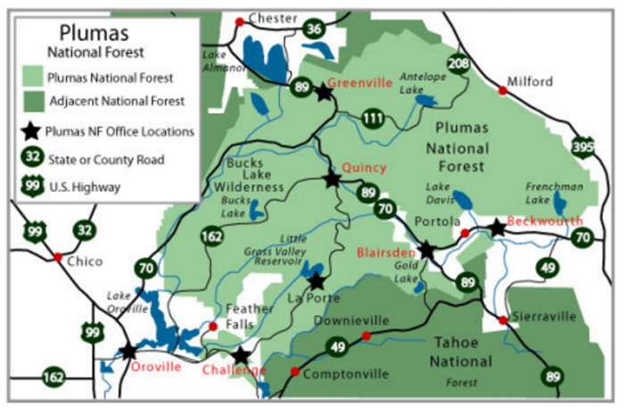 US Forest Service Plumas National Forest CA The - Us national forests on a map