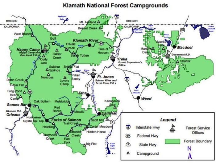 US Forest Service Klamath National Forest CAOR The - Us national forests on a map