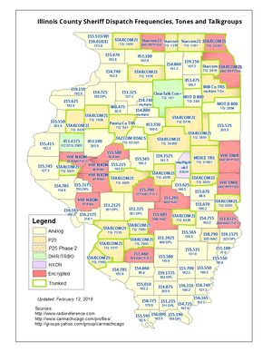 Illinois County Sheriff Dispatch Frequencies Map - Click image to view in full