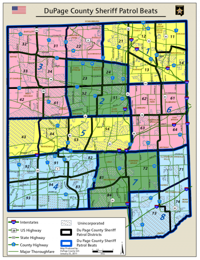 DuPage Sheriff Patrol Beat Map